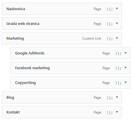 WordPress meni